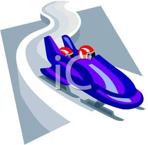 Bobsledders In A Blue Bobsled.