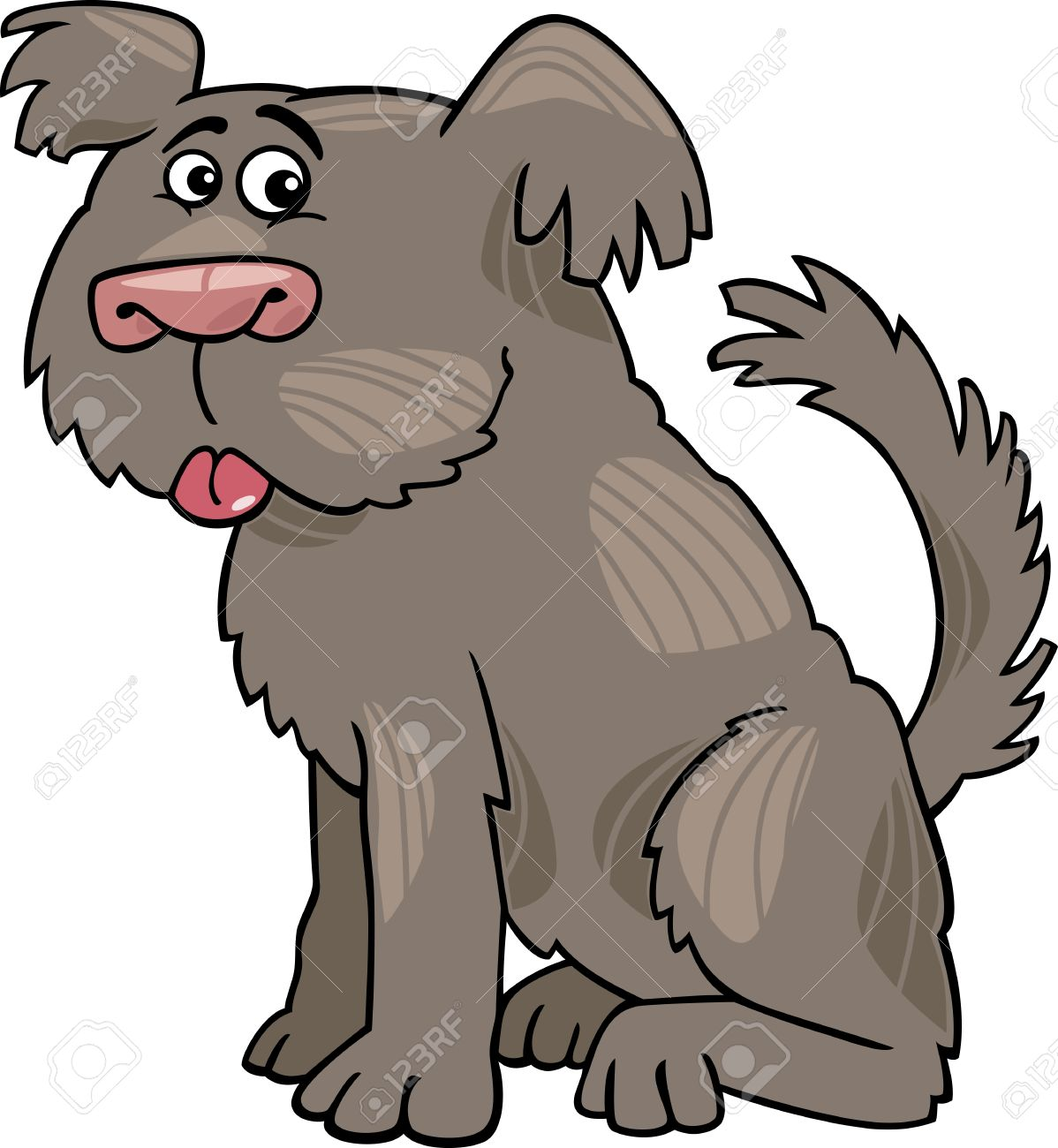 Cartoon Illustration Of Funny Shaggy Sheepdog Or Bobtail Dog.