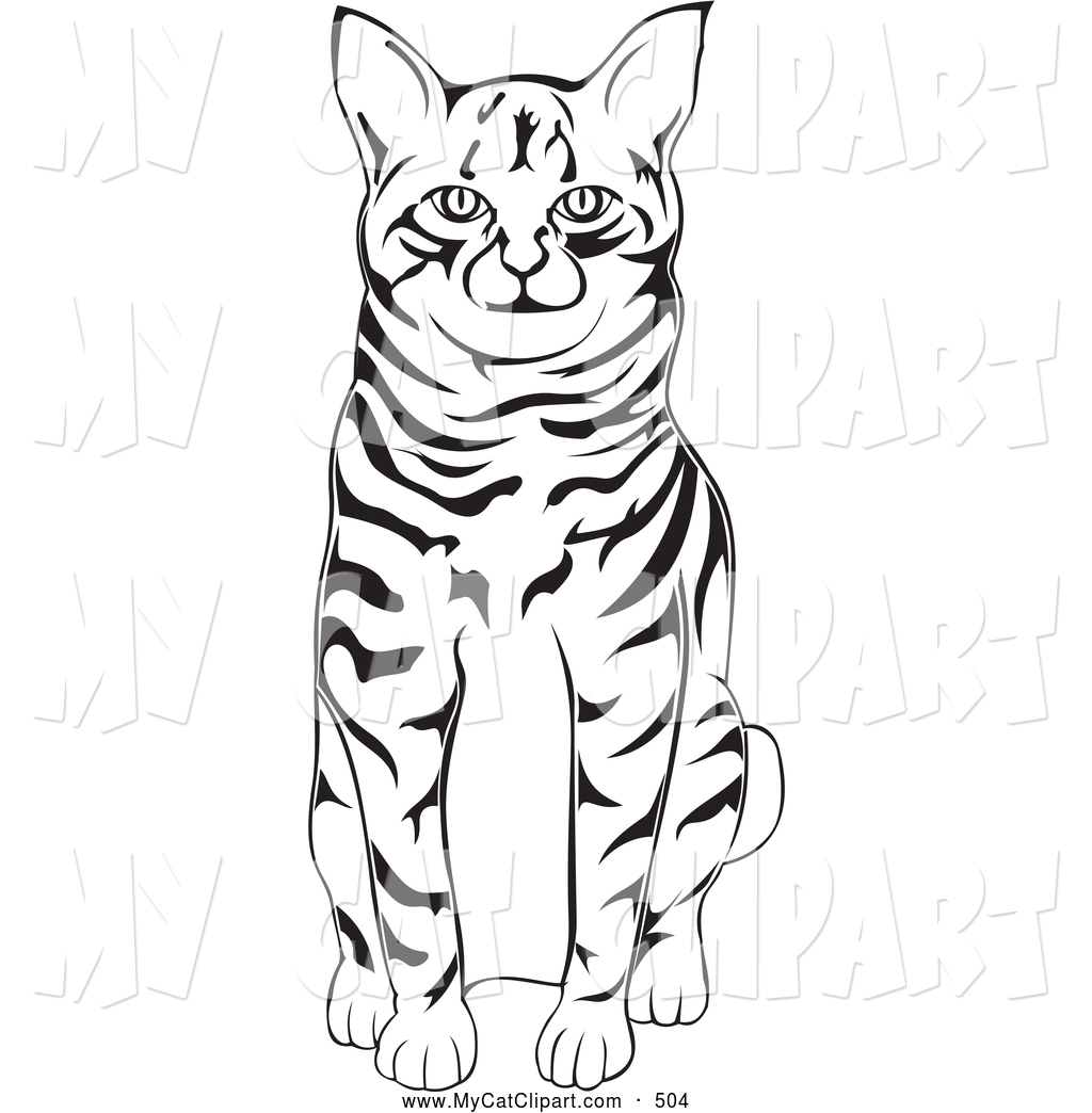 Clip Art of a Cute Black and White American Bobtail Cat Sitting by.