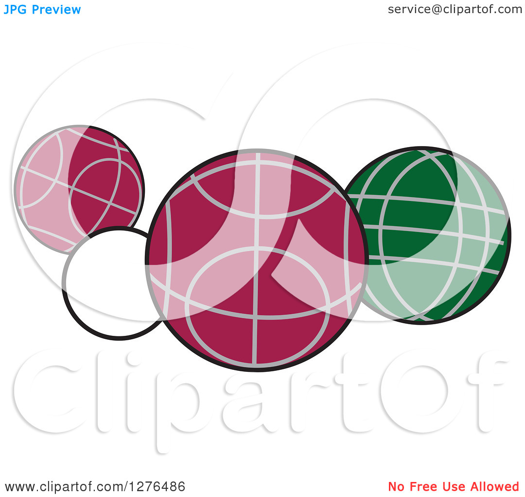 Clipart of White, Red and Green Bocce Balls.