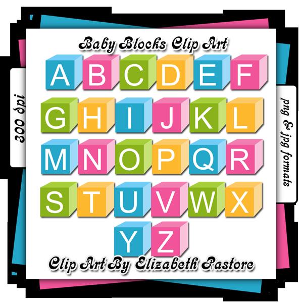 Baby letter bock clipart.