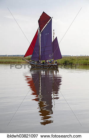 """Picture of """"Zeesenboot boat on the Bodden, Baltic Sea peninsula of."""