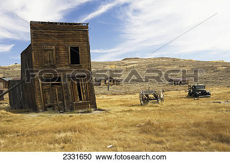 Stock Photography of Gold mining ghost town;Bodie california.