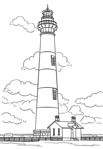 Bodie Island Lighthouse, North Carolina Coloring page in.