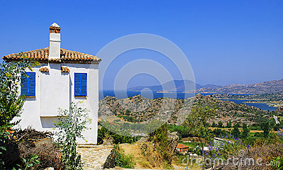 A Traditional Bodrum House With Sea Scene Stock Photo.