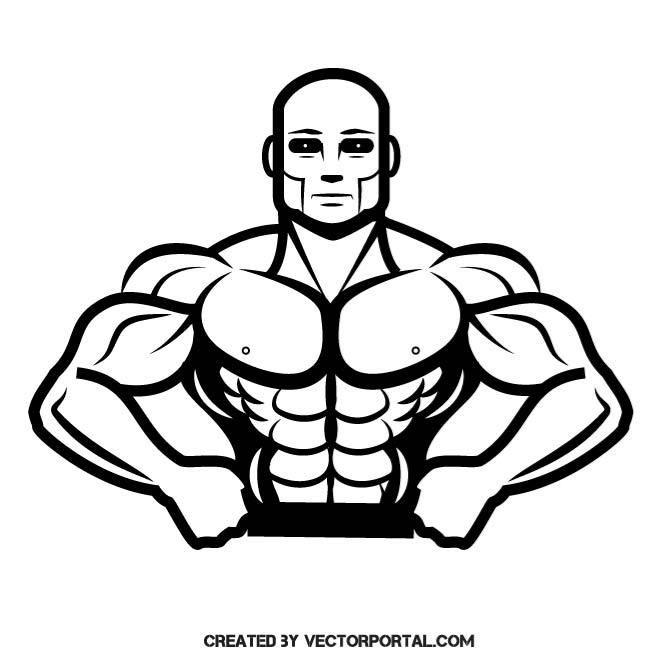 Bodybuilder vector clip art..