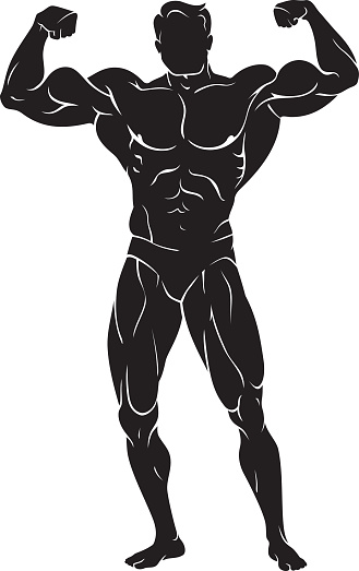 Black And White Body Builder Poses Clipart.