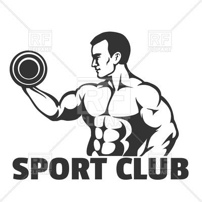 Bodybuilding gym or sport club emblem Vector Image.