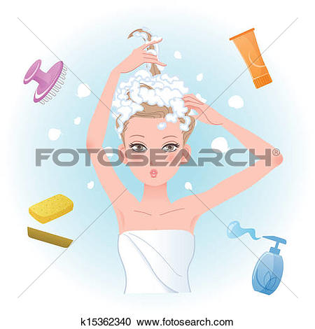 Clipart of Young woman soaping her hair with body/hair care.