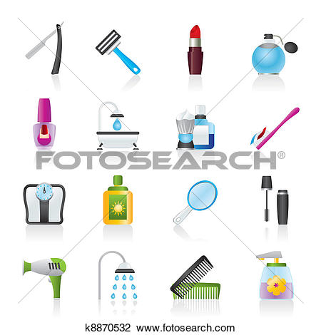 Clipart of body care and cosmetics icons k8870532.