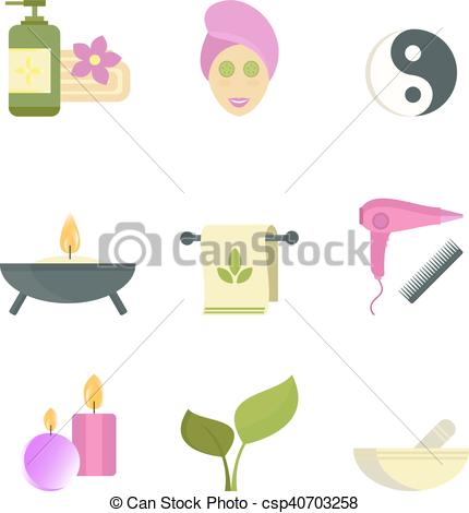 Clipart Vector of Spa beauty body care vector icons.