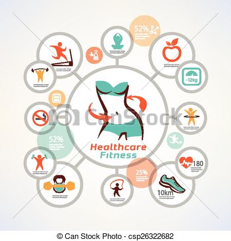 Vector of fitness and body care infographics, icons collection.