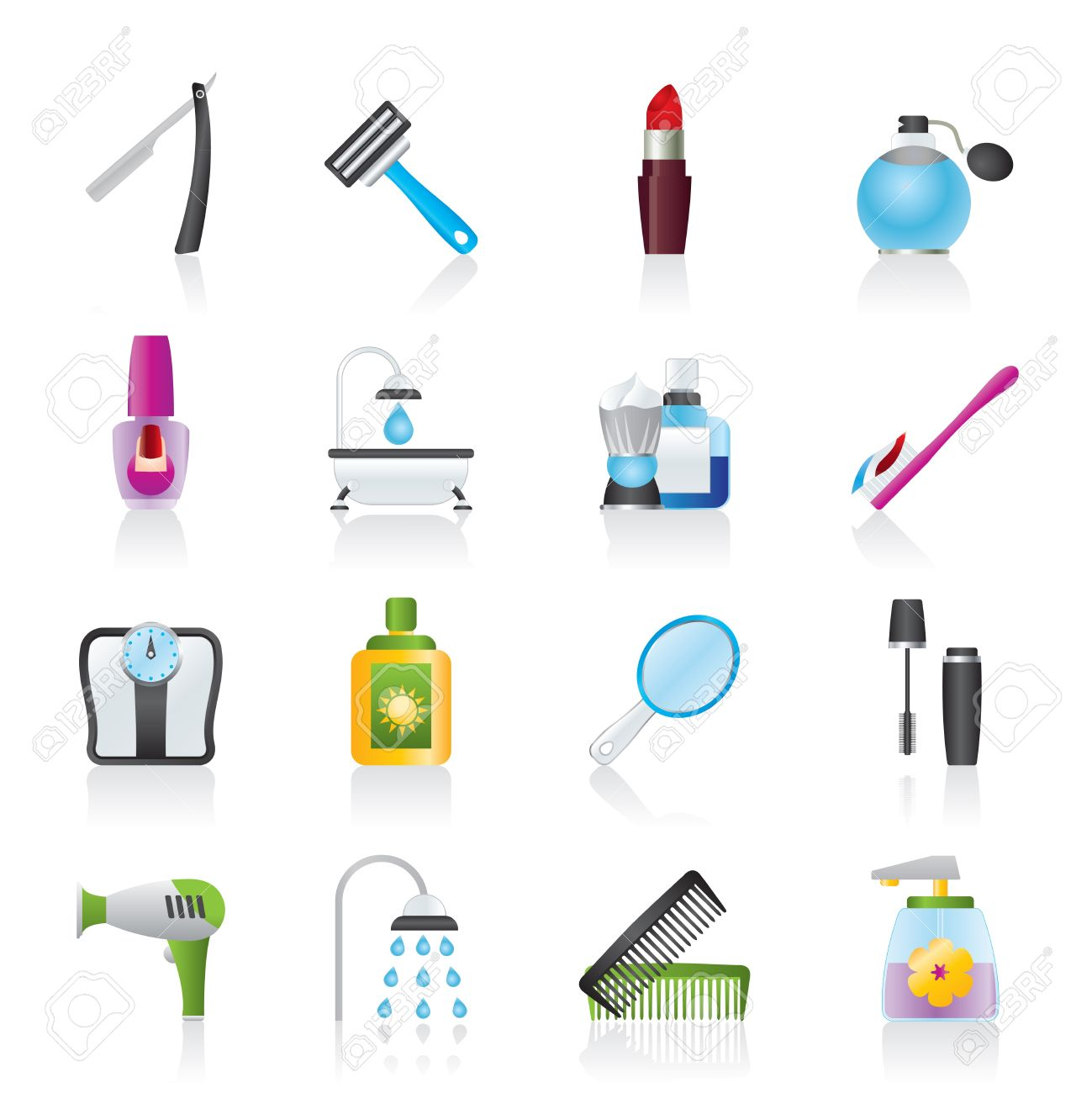 Body Care And Cosmetics Icons.