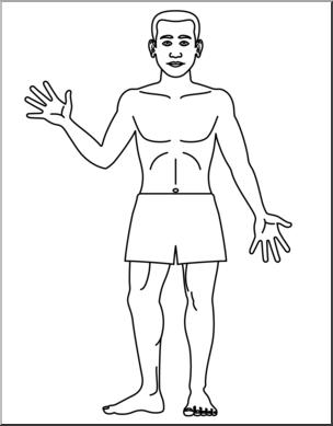Clip Art: Human Body: Front View B&W Blank I abcteach.com.