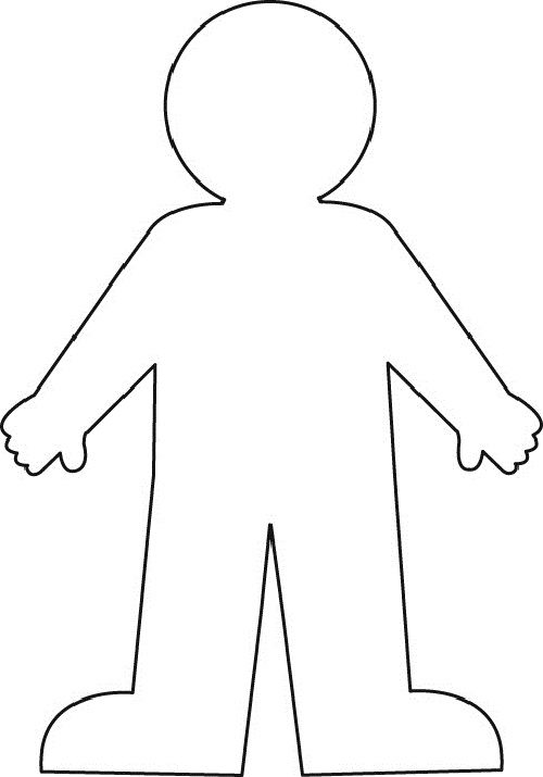black and white body clipart