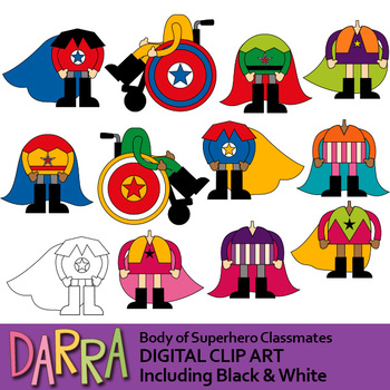 Superhero bodies clipart / Body of Superhero Classmates clip art.