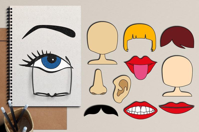 Body parts clipart, body parts face clip art, the body clipart, eye, mouth,  lips, nose, eyebrow, head, teeth, ear.