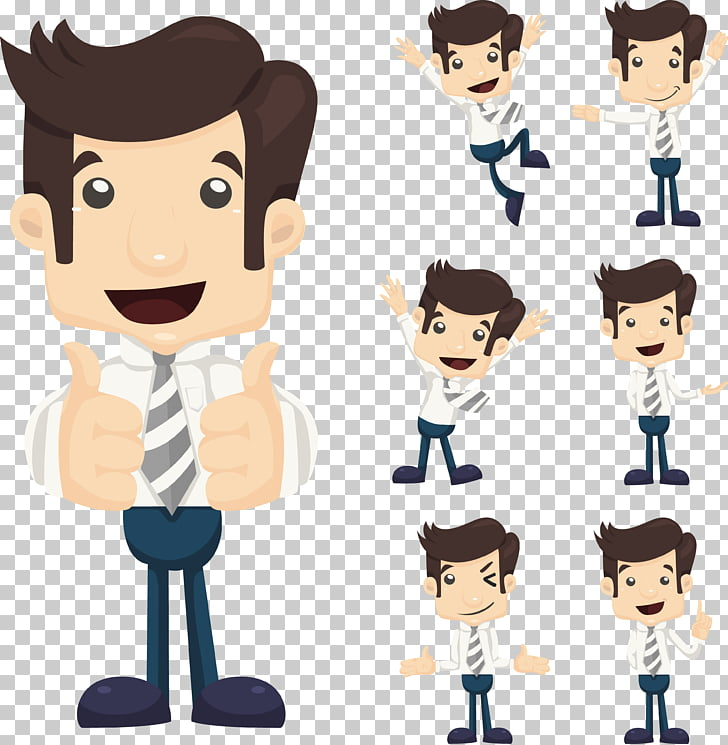 Cartoon , Body language character set., man wearing dress.