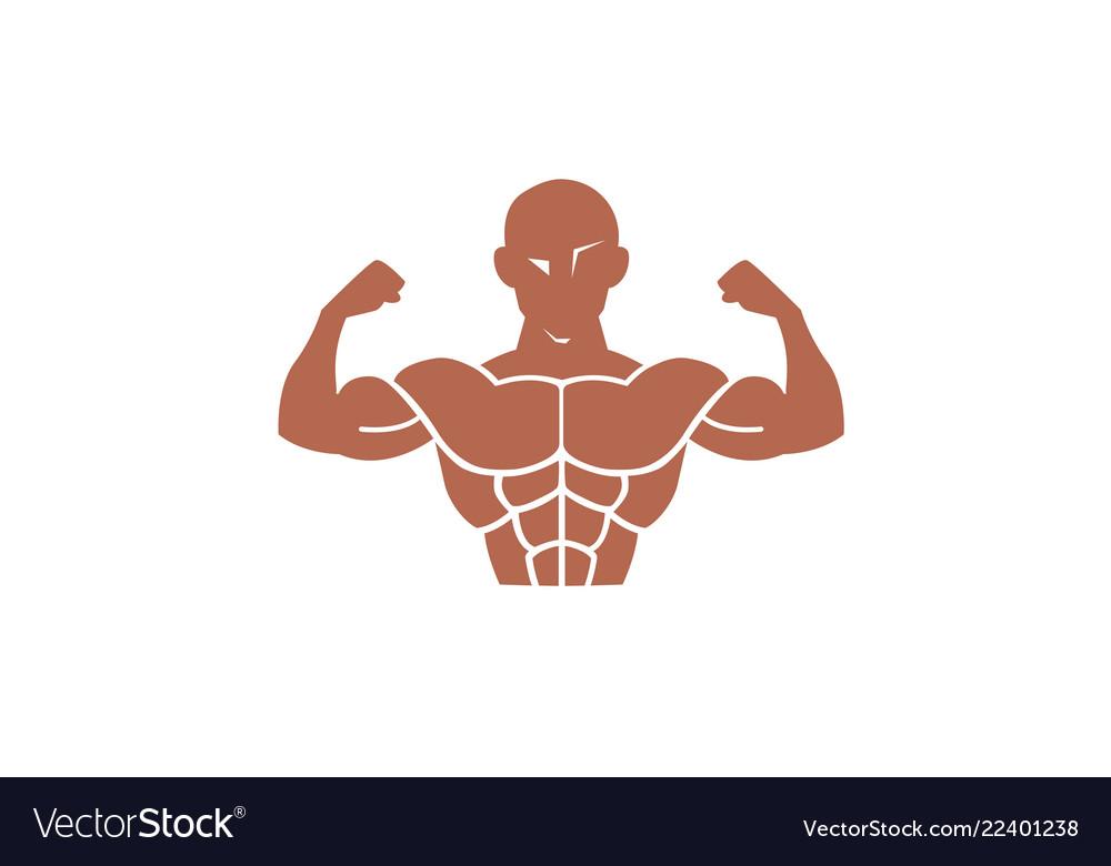 Body gym training muscles logo.