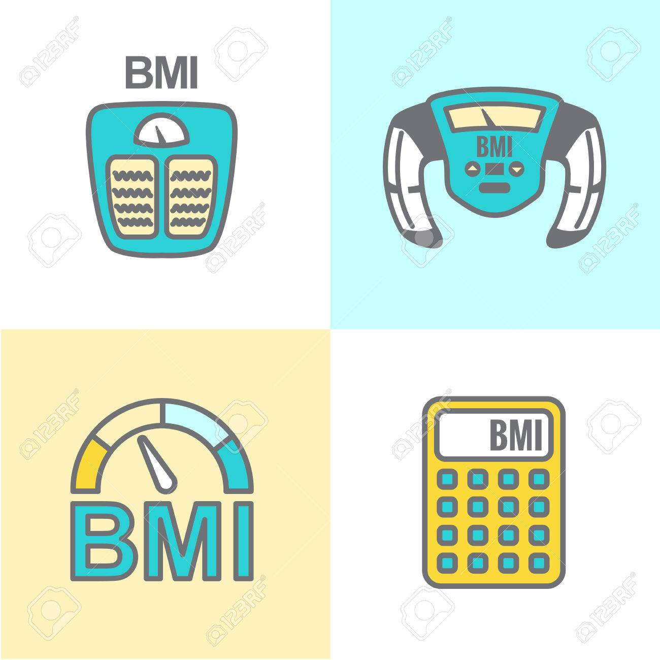 BMI or Body Mass Index Icons.