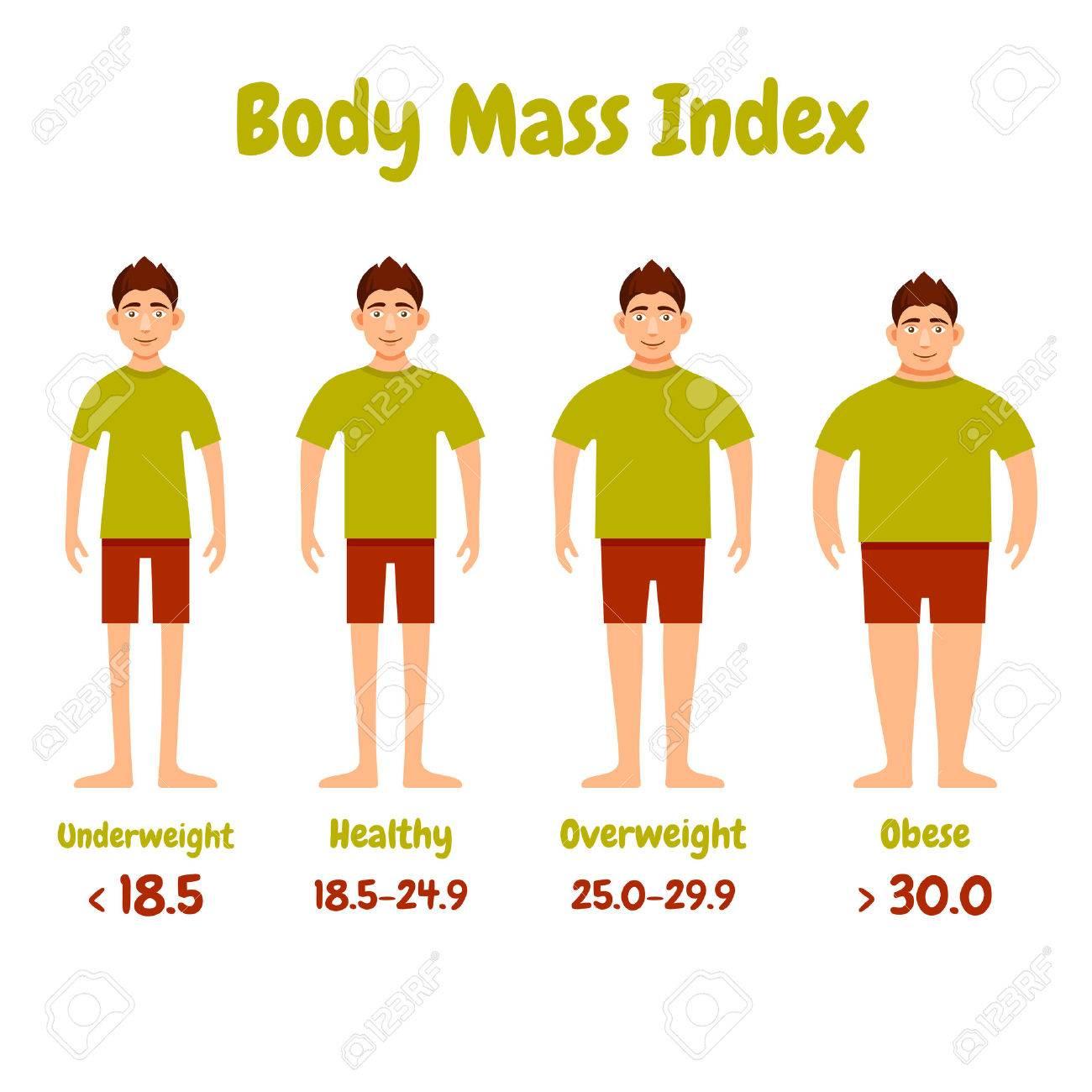 Body mass index men infographics poster. Vector illustration..