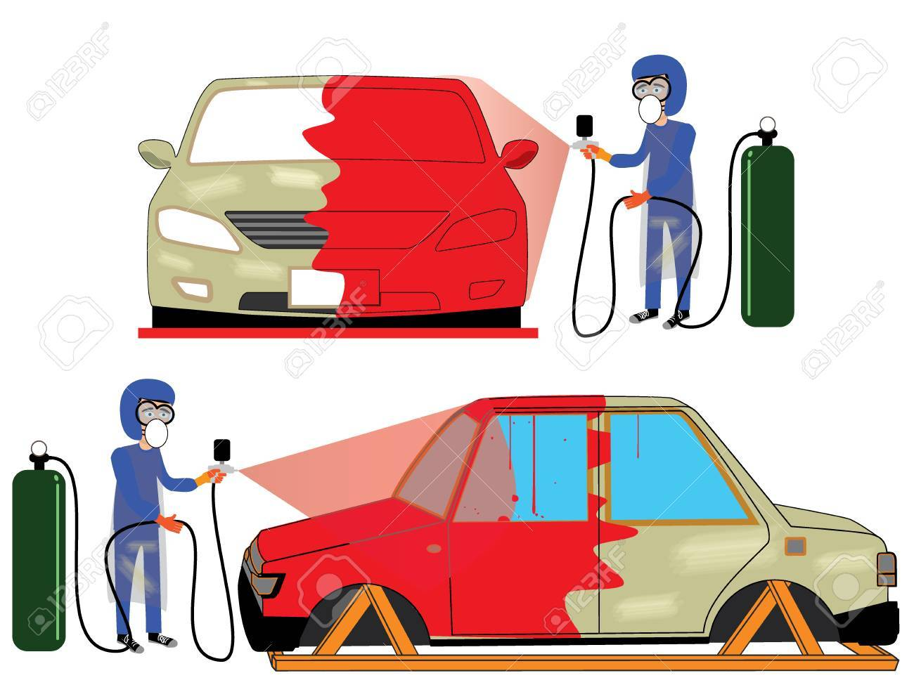 spray painting auto mobile body at car collision repair shop.