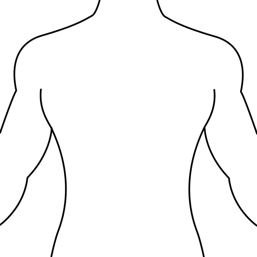 Human Body Outline Front and Back Drawing.