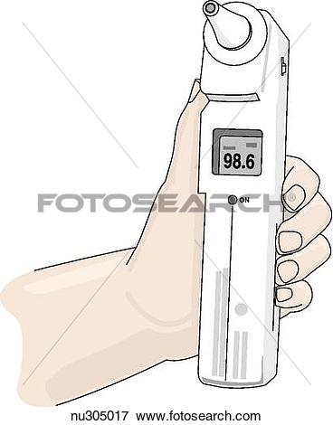 Stock Illustration of Tympanic thermometer held in hand displaying.