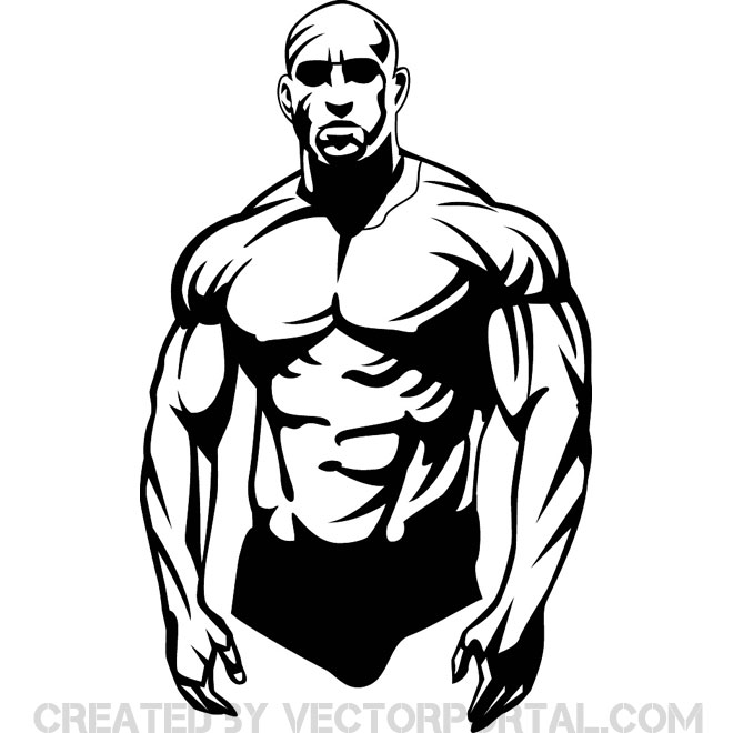 Bodybuilder Clip Art Free Vector.