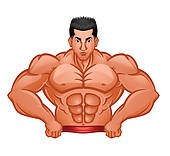 Clip Art of Body Builder Bodybuilder Muscle Man k14328319.