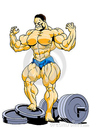 Cartoon Bodybuilder Stock Illustrations.