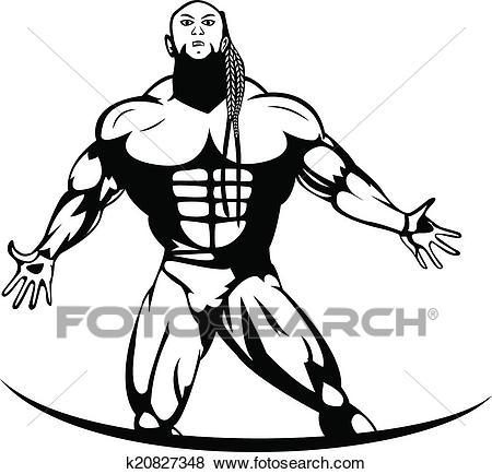 Silhouette of a pro bodybuilder Clip Art.