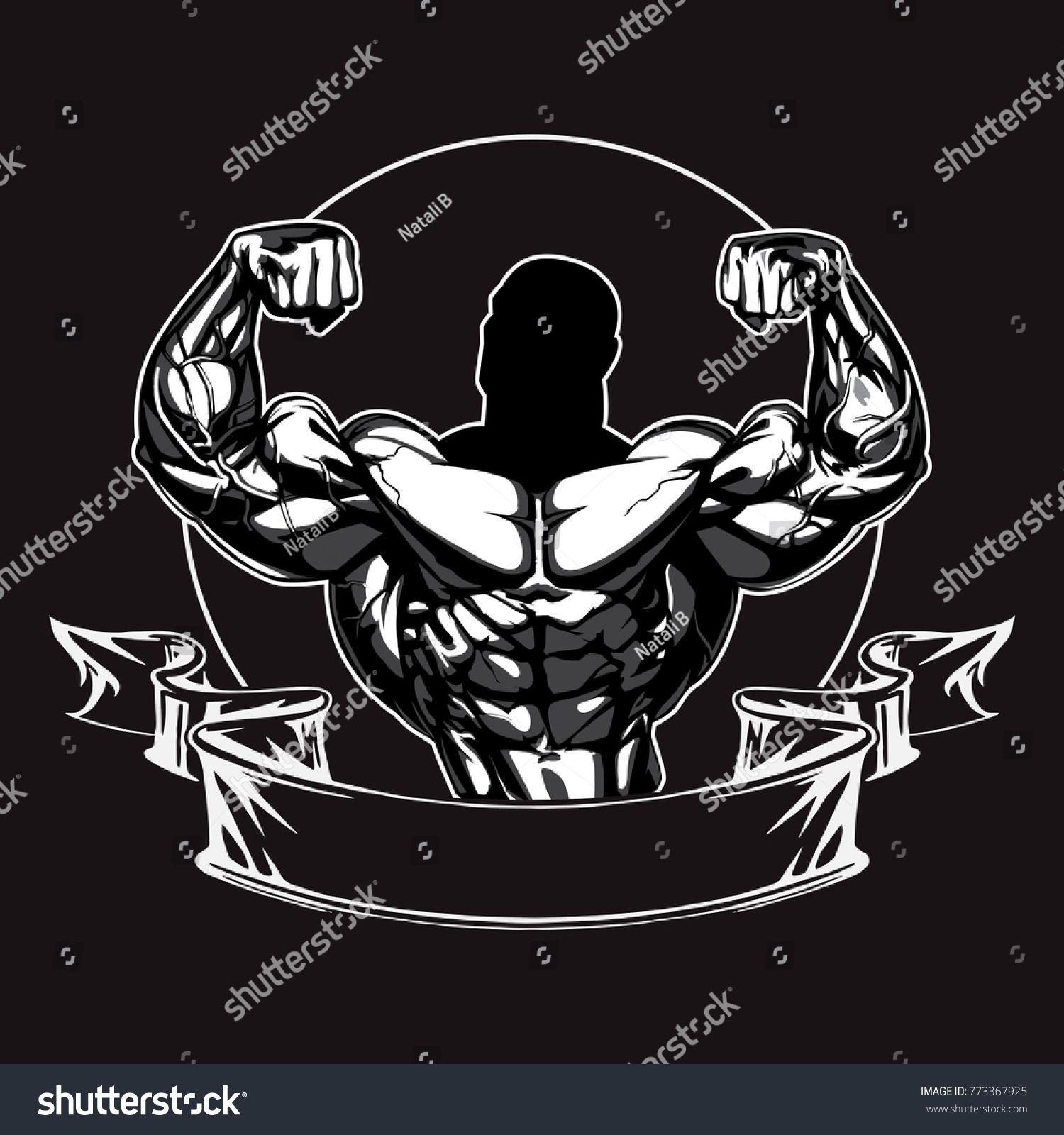 Bodybuilder Logo Template. Vector Object, Icon, Sport Label.