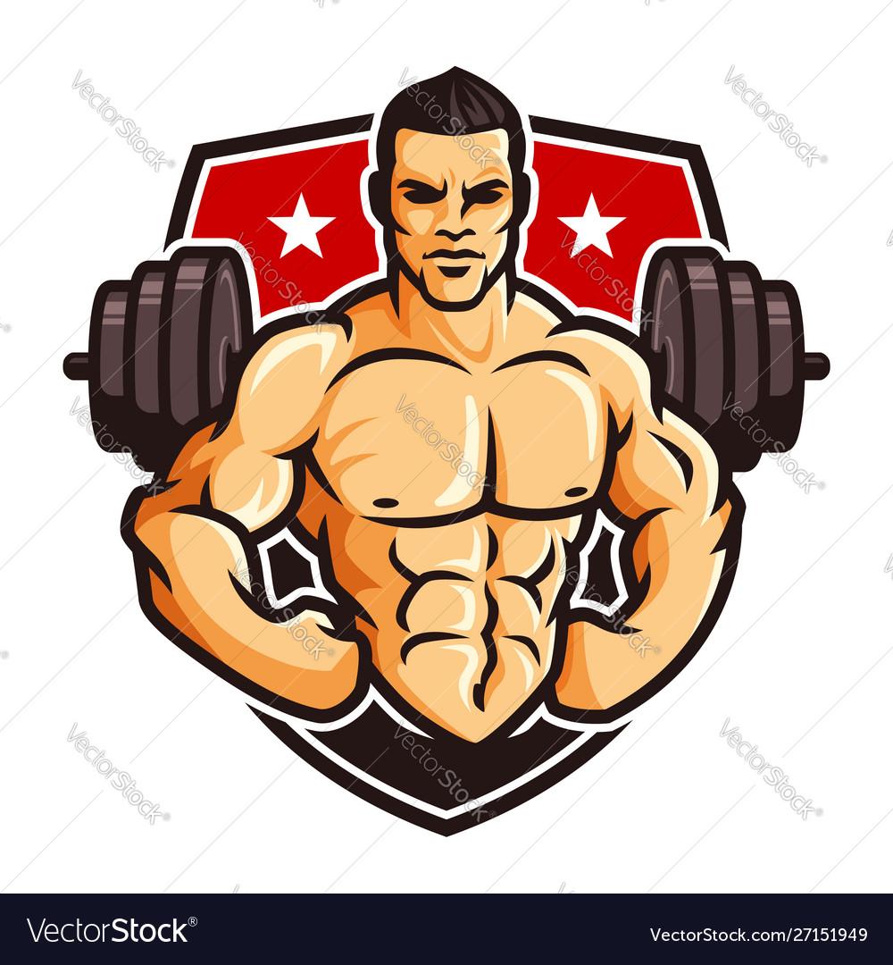 Logo template bodybuilder gym fitness theme.