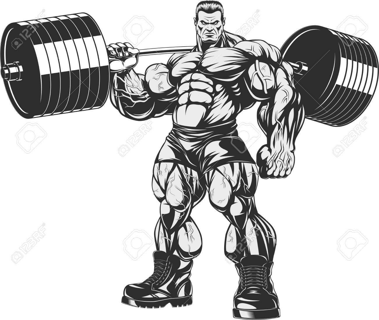 71381111 Vector Illustration Strict Coach Bodybuilding And.