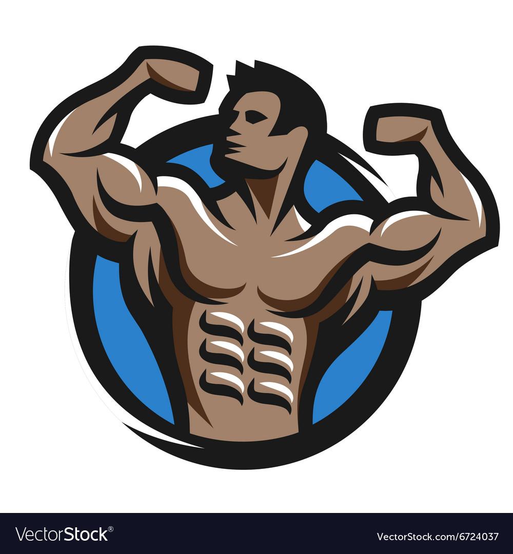 Posing bodybuilder simbol logo emblem.