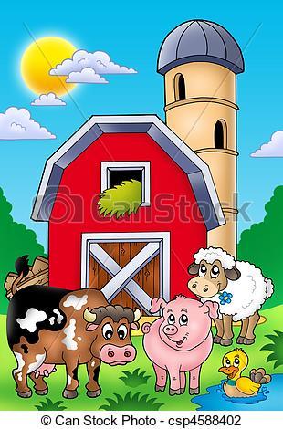 Clip Art van boerderij, groot, dieren, rood, schuur.
