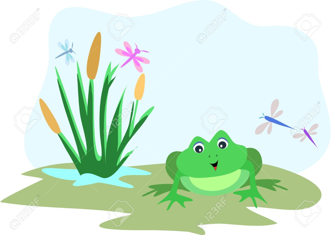 Frog With Dragonfly Sky Frame Royalty Free Cliparts, Vectors, And.