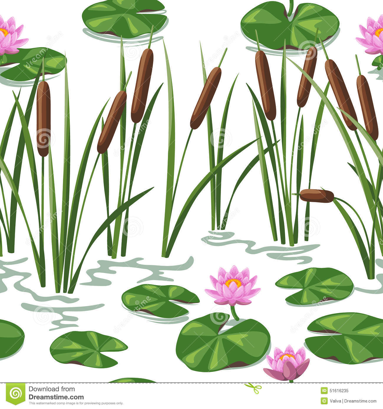 Wetland Plants Background Stock Vector.