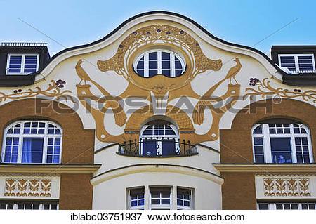 """Picture of """"Art Nouveau facade, Jacques Lasserre, Bogenhausen."""