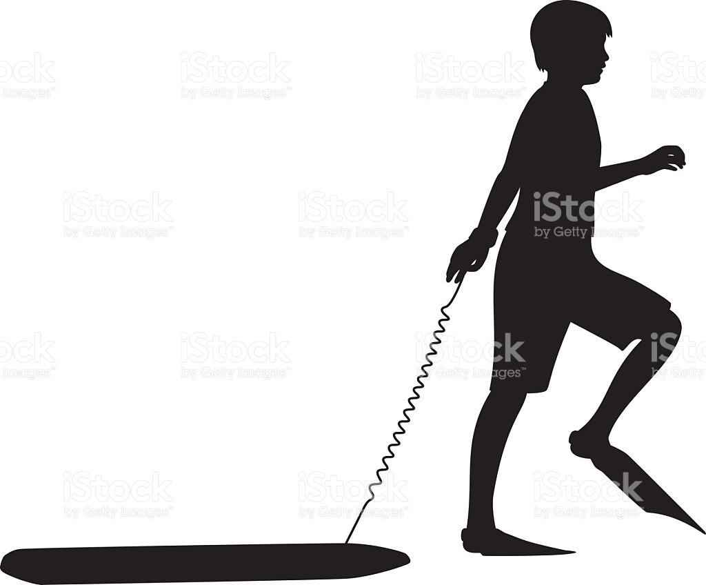 Boy With Flippers And Boogie Board Silhouette stock vector art.