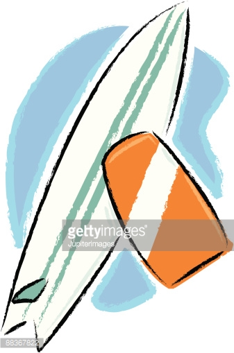 Boogie Board And Surfboard Vector Art.