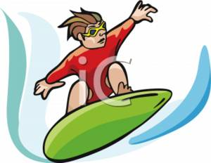 Clipart Picture of a Boy on a Boogie Board.
