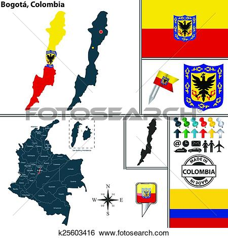Clip Art of Map of Bogota, Colombia k25603416.