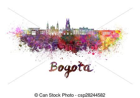 Stock Illustration of Bogota v2 skyline in watercolor splatters.