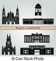 Vector Clipart of Bogota skyline in orange background in editable.