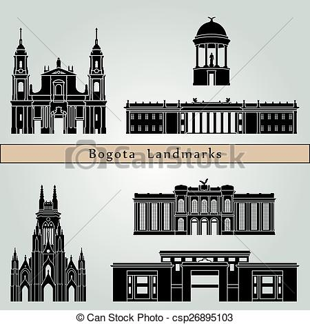 Vector Clipart of Bogota landmarks and monuments isolated on blue.