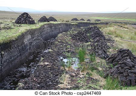 Stock Photographs of Peat bogs and dug up peat piles for home.