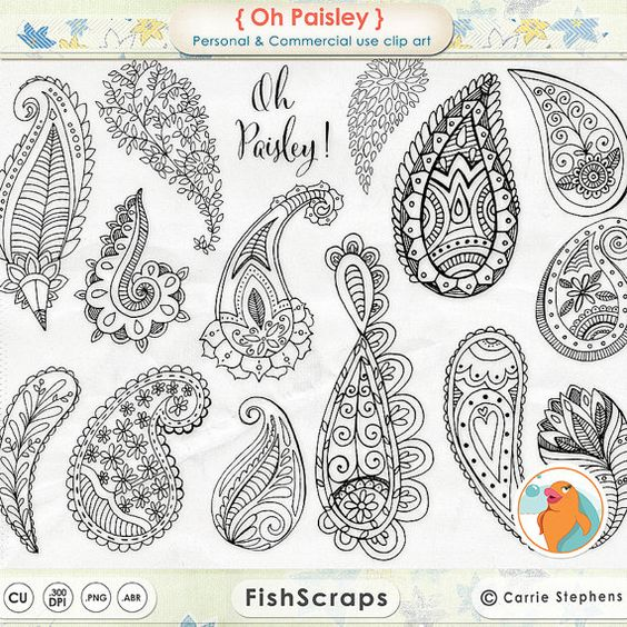 Paisley Digital Stamp Clip Art, Bohemian ClipArt Download Doodles.