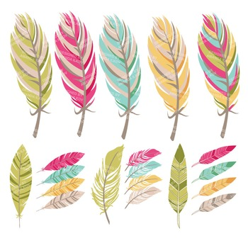 Be Brave Tribal Feathers Clipart & Vectors in Bohemian.